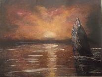 Meerblick, Sonnenuntergang, Abendrot, Malerei