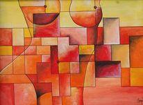 Liebe, Frau, Mauer, Malerei