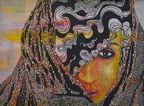 Frau mit schal, Kopftuch, Hülle, Malerei