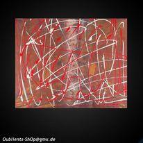 Weiß, Rot, Acrylmalerei, Abstrakt