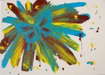Braun, Blau, Gelb, Acrylmalerei