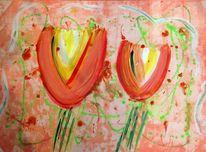Gelb, Blumen, Orange, Acrylmalerei