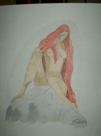 Aquarellmalerei, Felsen, Bleistiftzeichnung, Figur