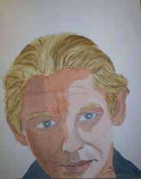 Portrait, Schauspieler, Ben becker, Aquarellmalerei