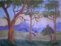 Baum, Sonnenaufgang, Berge, Landschaft