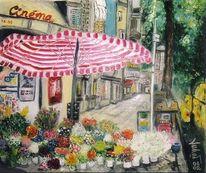 Blumen, Gasse, Frankreich, Schirm