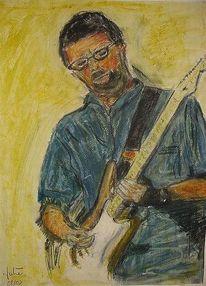 Musiker, Gitarrenspieler, Gitarre, Malerei