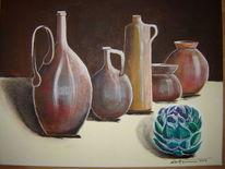 Mediterran, Ton, Tonkrüge, Acrylmalerei