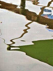 Wasser, Farbflächen, Linie, Spiegelung