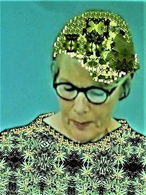 Frau, Farben, Kopf, Grün