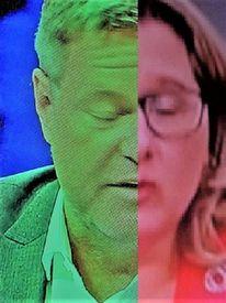 Frau, Politische farbenlehre, Gesicht, Kopf