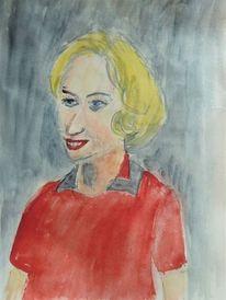Frau, Portrait, Aquarellmalerei, Menschen