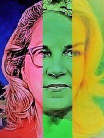 Frau, Politische farbenlehre, Gesicht, Synthese
