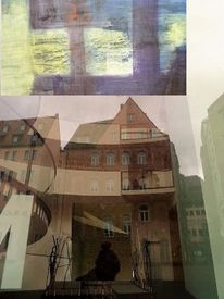Glas, Collage, Schatten, Malerei