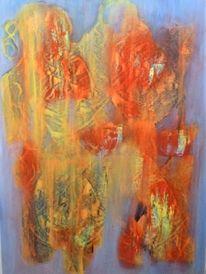 Ölmalerei, Frottage, Krieger, Malerei