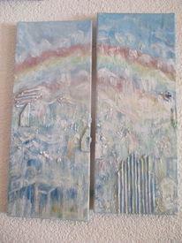 Himmel, Luftschloss, Regenbogen, Malerei