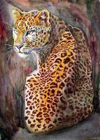 Katze, Aquarellmalerei, Leopard