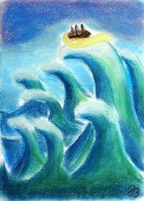 Angst, Welle, Hand, Meer