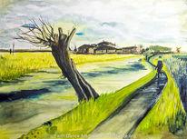 Weide, Baum, Aquarellmalerei, Aquarell