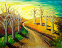 Baum, Temperamalerei, Landschaft, Dämmerung