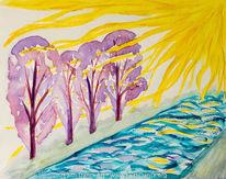 Aquarellmalerei, Baum, Sonnenstrahlen, Aquarell