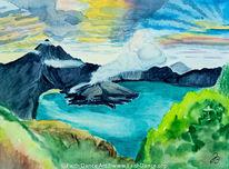 Wolken, Urlaub, Berge, Aquarellmalerei
