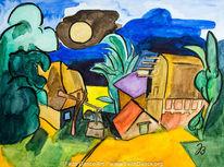 Baum, Aquarellmalerei, Mondschein, Häuser