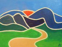 Grün, Acrylmalerei, Flächig, Sonne