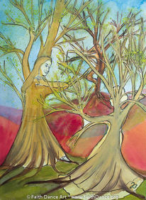 Tanz, Baum, Aquarellmalerei, Aquarell