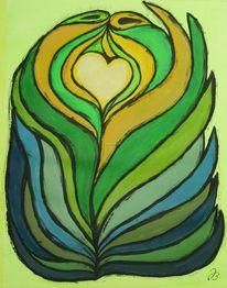 Abstrakt, Herz, Blätter, Acrylmalerei