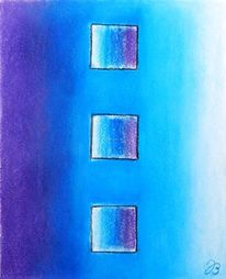 Pastellmalerei, Quadrat, Blau, Weite