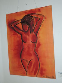 Acrylfarben, Rot, Orange, Moderne malerei
