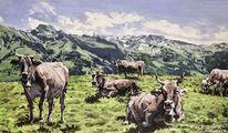 Kuh, Alp, Berge, Malerei