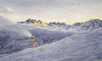 Schnee, Berge, Schneekanone, Landschaft