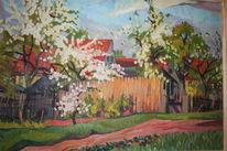 Häuser, Weg, Wiese, Frühling