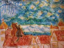 Licht und schatten, Haus, Berge, Stern