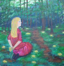 Waldweg, Staunen, Mädchen, Erkennen