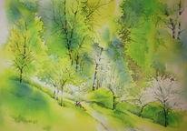 Baum, Oberfranken, Aquarellmalerei, Grün