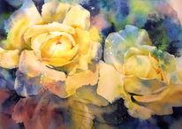 Aquarellmalerei, Rose, Gelb, Aquarell