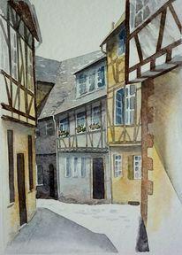 Ascheberg, Fachwerk, Unterfranken, Aquarellmalerei