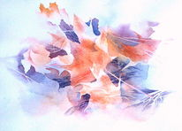 Blätter, Herbst, Laub, Aquarellmalerei