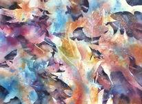Blätter, Herbst, Aquarellmalerei, Laub