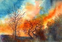 Herbst, Baum, Sonnenuntergang, Aquarellmalerei
