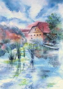 Aquarellmalerei, Fachwerk, Bad windsheim, Fachwerkäuser