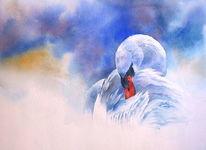 Aquarellmalerei, Weihnachten, Schwan, Nebel