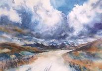 Aquarellmalerei, Berge, Wolken, Schottland