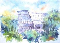 Rom, Italien, Aquarellmalerei, Colosseum