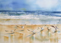 Aquarellmalerei, Strand, Möwe, Abkehr