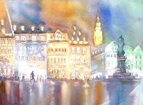 Coburg, Aquarellmalerei, Marktplatz, Nacht