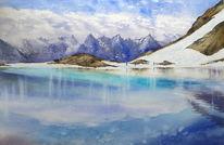 Winter, Aquarellmalerei, Alaska, Eismeer